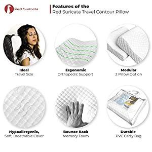 Red Suricata Travel Contour Pillow – Compact Therapeutic Memory Foam Travel Pillow - Removable & Washable Bamboo Cover – 3 Firmness Levels - Travel Size - Connect 2 for Full Size Pillow (Firm)