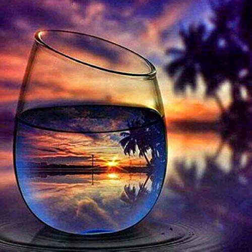 Smartcoco Wine Glass Beach Sunset 5D DIY Full Diamond Painting Wall Sticker 3D Diamond Mosaic Cross Stitch Embroidery Wall Craft Decor, 11.8