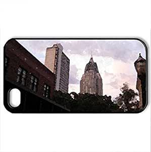 Downtown of Mobile, Alabama - Case Cover for iPhone 4 and 4s (Modern Series, Watercolor style, Black)