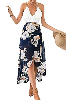 YOINS Women Casual Wrap Front Floral Print Maxi Dress with Lace Details