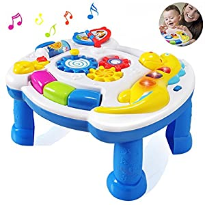 HOMOFY Baby Toys Musical Learning Table 6 Months up-Early Education Music Activity Center Game Table Toddlers,Infant,Kids Toys for 1 2 3 Years Old Boys & Girls- Lighting & Sound (New Gifts)