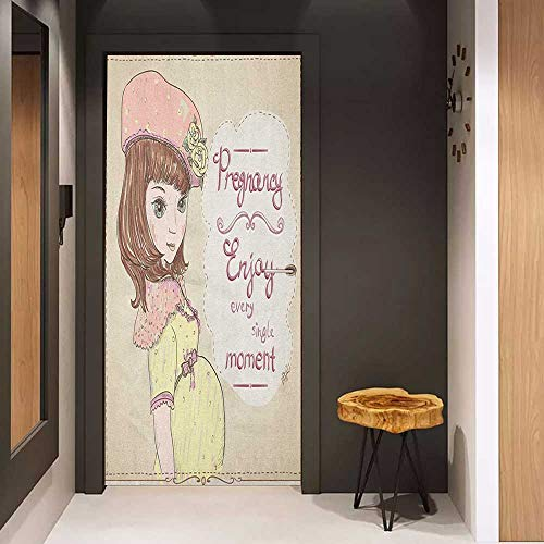 Onefzc Sticker for Door Decoration Quotes Pregnancy Enjoy Every Single Moment Clipart Pregnant Woman Dress Hat Door Mural Free Sticker W23.6 x H78.7 Eggshell Pink Multicolor