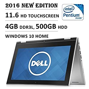 2016 Dell Inspiron 3000 11.6 Inch 2-in-1 Touchscreen High Performance Laptop, Intel Quad Core Pentium Processor, 4 GB RAM, 500 GB HDD, Bluetooth, HDMI, 11 hrs Battery Life, Windows 10