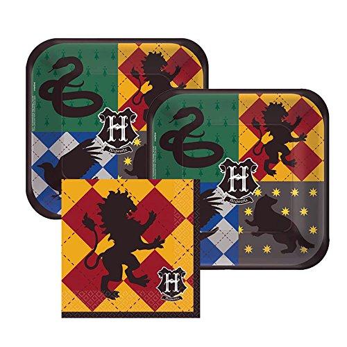 Harry Potter Hogwarts Paper Dessert Plates and Gryffindor Paper Napkins, 16 Servings, Bundle- 3 Items