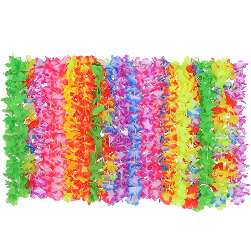 Hawaiian Leis Luau Party Decorations (50 Count) | Tropical Lei Flower Necklaces | Perfect Supplies for Hawaii Theme Parties, Pool Parties, Beach Parties, Birthdays | Party Favors For Teens, Kids, Adults | Moana Aloha Party | Made of Artificial Silk