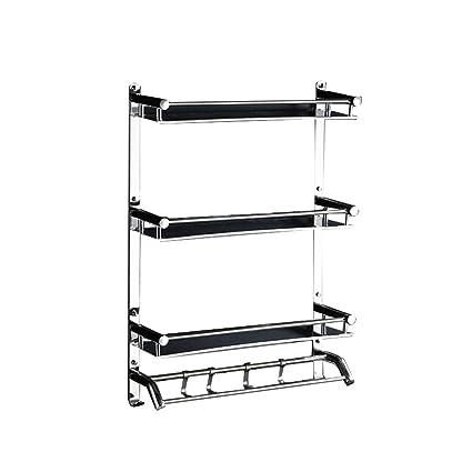 Espejo de baño de acero inoxidable brillante Estantería de 3 niveles Recipiente de la ducha con