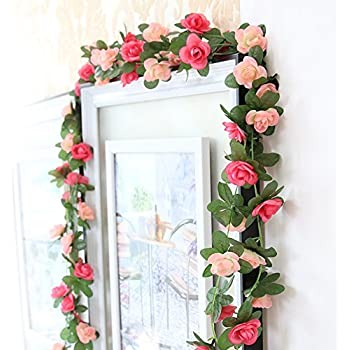 meiliy 2 pack 82 ft fake rose vine flowers plants artificial flower home hotel office wedding party garden craft art decor pink ml 021pi