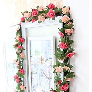 Artificial silk rose flower ivy vine for 50ft garden design
