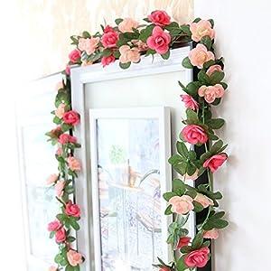 Meiliy 2 Pack 8.2 FT Fake Rose Vine Flowers Plants Artificial Flower Home Hotel Office Wedding Party Garden Craft Art Decor Pink ML-021pi 105