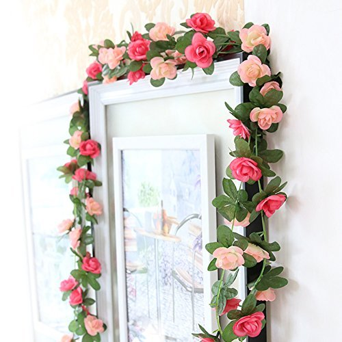 Meiliy 2 Pack 8.2 FT Fake Rose Vine Flowers Plants Artificial Flower Home Hotel Office Wedding Party Garden Craft Art Decor Pink ML-021pi (Flower Banner)