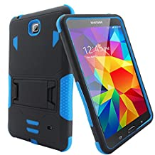 "Bvgande Samsung Galaxy Tab 4 8"" 8.0 8-inches Tablet Case Built-in Kickstand Cover - [Todt Series] [Full-body Tough Rugged Hybrid Drop Proof Protective Case], Dual Layer Design/Impact Resistant Bumper Prime (Black/Blue)"