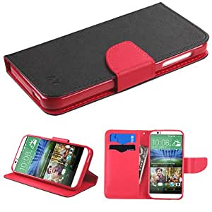 MYBAT Black Pattern/Red Liner MyJacket Wallet (with card slot)(845) (with Package) for HTC 510 (Desire 510)