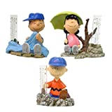 Homestyles Peanuts #51502 Charlie Brown, Linus and Lucy (Collectors Set of 3) Rain Gauge Painted Figurines from The Snoopy Peanuts Garden Statue Collection