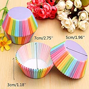 100Pcs Colorful Rainbow Paper Cupcake Baking Muffin Cup Cake Wedding Party Tool