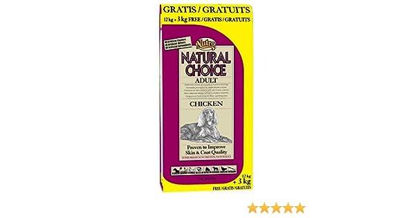 NUTRO - Pienso para Perros medianos Natural Choice Adult Pollo 12 + 3 kg: Amazon.es: Productos para mascotas