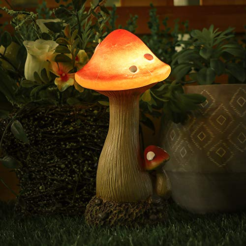 Hannah's Cottage Mushroom Fairy Garden Statue Accessories, Resin Outdoor Statues with Solar Lights, Garden Figurines for Outdoor Decoration (Outdoor Paradise) ()