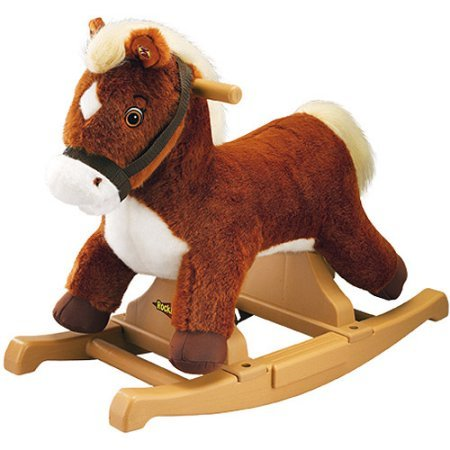 Rockin' Rider Talking And Singing Animated Pony Rocker Plush Rocking Horse, Brown, No-Slip Footsteps And Easy-Grip Handles, For Kids 2 Years And Up