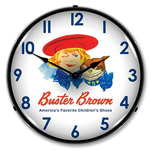 New Buster Brown Shoes Retro Vintage Style Advertising Backlit Lighted Clock – Ships Free Next Business Day to Lower 48 States