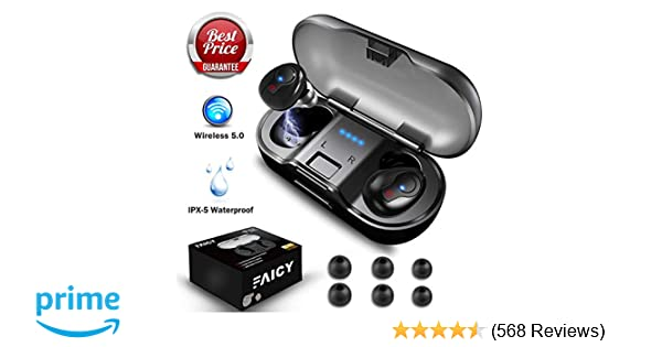 bcb167ffbf4 Wireless Earbuds, Faicy True Wireless 5.0 Deep Bass Mini in-Ear Headset HD  Stereo IPX5 Headphones with Built-in Mic, 24Hr Play Time with 480mAH  Battery ...