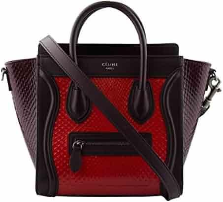 e6ec25bd3d89 CELINE Red Brown Shiny Python Leather Nano Luggage Shoulder Handbag