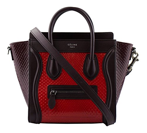 CELINE Red/Brown Shiny Python Leather Nano Luggage Shoulder ()