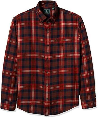 G.H. Bass & Co. Men's Fireside Flannels Long Sleeve Button Down Shirt, Fired Brick X-Large