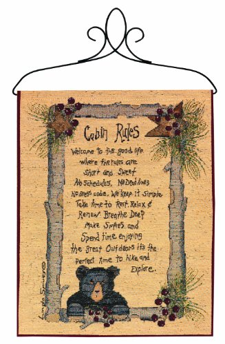 Cabin Wall Hanging - Manual Lodge Collection Wall Hanging with Frame, Cabin Rules, 13 X 18-Inch
