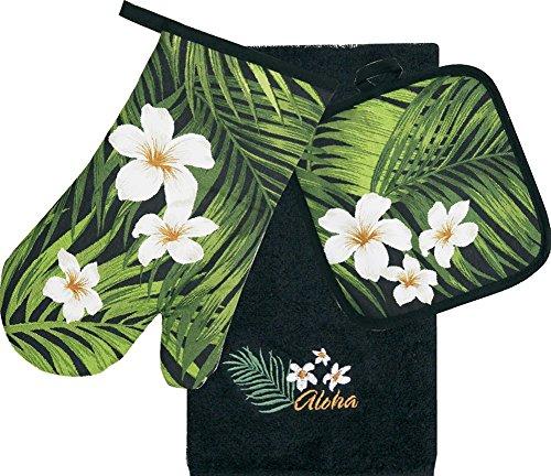 Hawaiian 3 Piece Kitchen Set Dish Towel & Potholder & Oven Mitt Plumeria ()