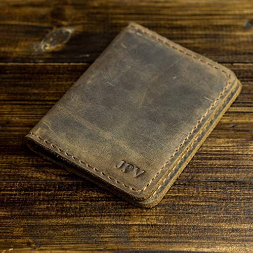 Bi Fold Distressed Leather (Pegai Personalized Minimalist Bifold Wallet, Distressed Leather Wallet - Knox   Antique Brown)