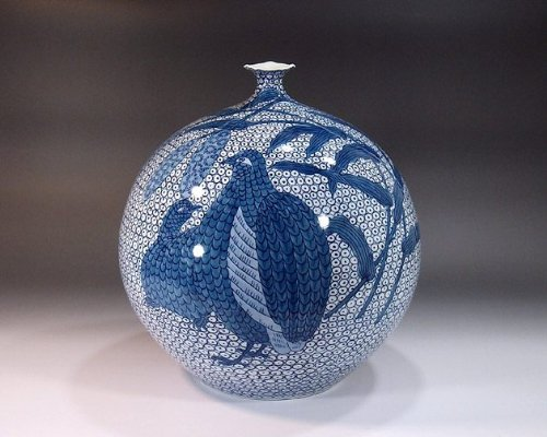 有田焼伊万里焼|花瓶陶器陶芸壺|贈答品|高級ギフト|贈り物|記念品|染付鶉絵藤井錦彩 B00HI9JBFG