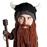 Beard Head Viking Pillager Beard Beanie - Funny Knit Horned Hat and Fake Beard Brown