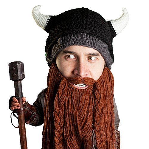 Beard Head Viking Pillager Beard Beanie - Funny Knit Horned Hat and Fake Beard Brown -