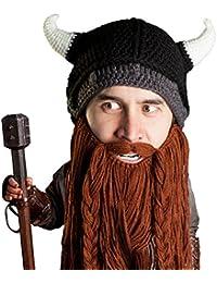 Viking Pillager Beard Beanie - Funny Knit Horned Hat w/Fake Beard