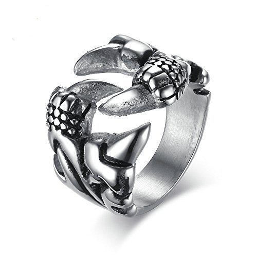 (Retro Jewelry 12mm Stainless Steel Dragon Claw Rings for Men,Size 11)