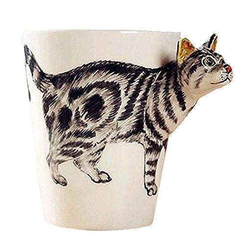 MATE 3D Hand-painted Ceramics Coffee Mugs,Cute Animals Cups Handmade Creative Art Cup for Coffee,Milk,Tea (13oz) Tabby cat