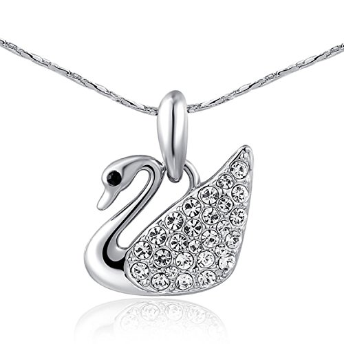 White Swan Costume Diy (AROUND 101 Swan Swarovski Elements AAA Zircon Austrian Crystal Pendant Necklace (Silver))