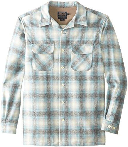 Pendleton Men's Tall Classic Board Shirt, Aqua/Grey Ombre, Tall/Large
