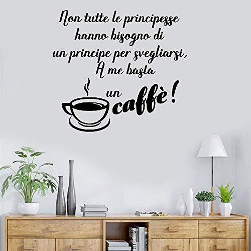 Wall Decal Sticker Art Mural Home Dcor Quote Italian Quote Non Tutte Le Principesse Hanno Bisogno Di Un Principe Per Svegliarsi A Me Basta Un Caffe for Coffee Shop -