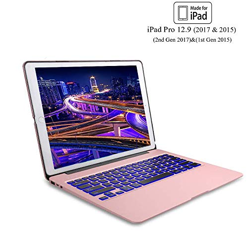 Keyboard Case for iPad Pro 12.9 (2nd Gen 2017), 12.9 (1st Gen 2015), 7 Color Backlit Keyboard, Wireless Bluetooth Connection, Auto Wake/Sleep, Pro 12.9 Case with Keyboard, Rose Gold