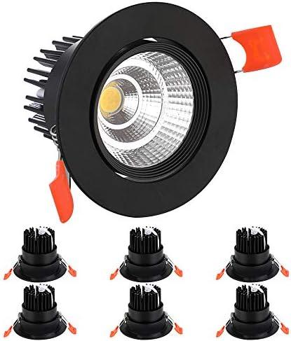 BAGZY Set da 6 Faretti LED da Incasso per Cartongesso Rotondo Luci da incasso 7W 770LM 4000K Illuminazione da Interni Bianco naturale Orientabili 120° Angolo a Fascio Nero
