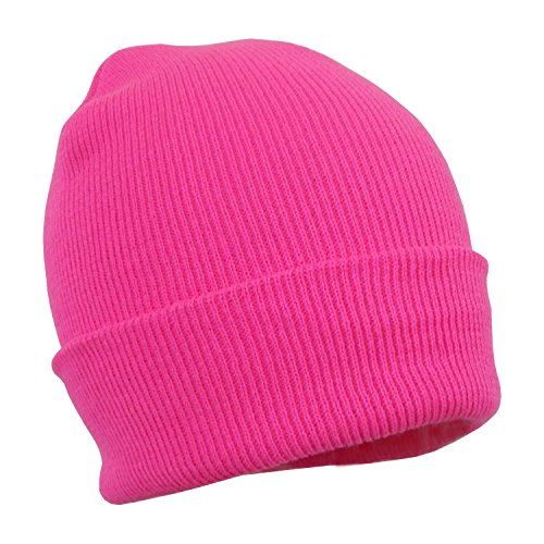 Pink Stretchy Cuffed Beanie Hat, Chunky Winter Knit Skull Cap - Snug Fit
