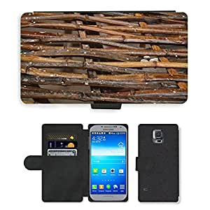 PU LEATHER case coque housse smartphone Flip bag Cover protection // M00150564 Construcción de bambú del enrejado // Samsung Galaxy S5 S V SV i9600 (Not Fits S5 ACTIVE)