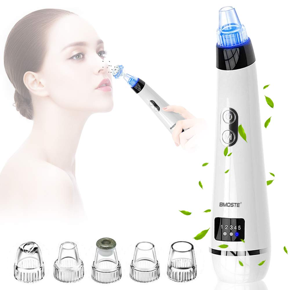 Blackhead Remover, Electric Pore Vacuum Cleaner Tool Rechargeable Blackhead Removal Suction Machine Extractor Kit to Blackhead Acne Pore Cleanser with 5 Heads BMOSTE