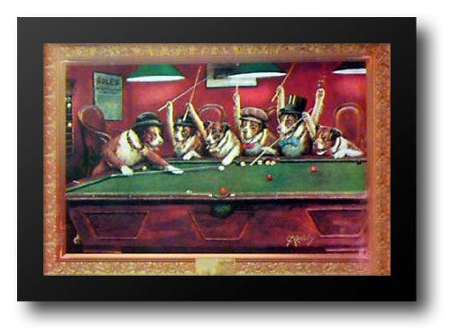 Framed Pool Dogs Playing (DOGS PLAYING POOL 40x28 Framed Art Print)