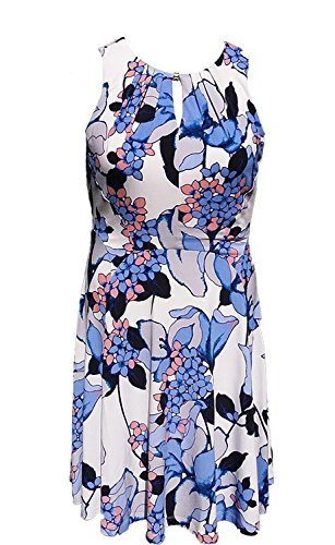 Ivanka Trump Womens Printed Matte Jersey with Hardware Beaded Dress (Small, Ivory/Pool)