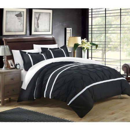 Chic Home Nikola Pinch Pleat Pintuck Microfiber Duvet Set Cover Includes 1 (Dan River Soft Pillow)