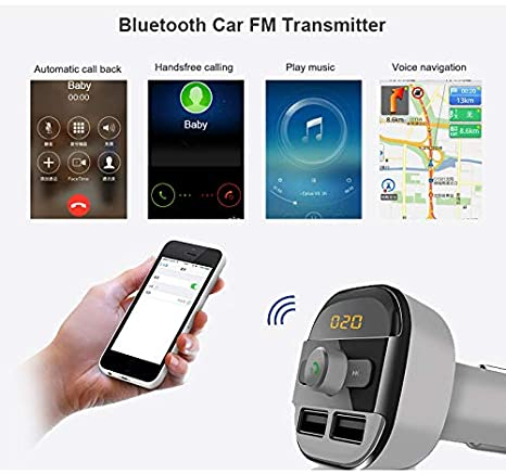 Ciacle Bluetooth FM Transmitter for Car Charger /… Car Locator Adapter Receiver with 2 USB Ports and USB Drive to Play MP3 Files Grey