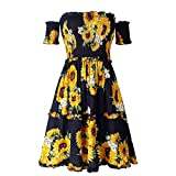 HIKO23 Women's Spring and Summer Fashion Casual Printed Sunflower Female Dress