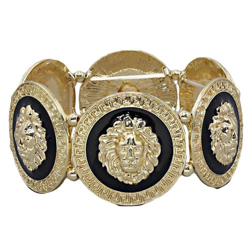 GALHAM - Rihanna Inspired Trendy Gold Black Lion Head Medallion Chunky Stretch Bangle - Versace Medallion