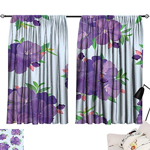 Hariiuet Door Curtain Seamless Pattern with Beautiful Purple Princess Flower or tibouchina urvilleana and Leaf on Blue Background 84